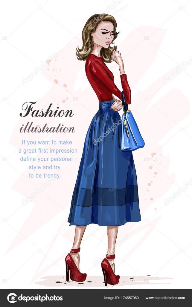 2aedb5df6a7f8a ファッションの服の美しいスタイリッシュな女性。ファッションのモデルのポーズします。手描きファッションの女の子。スケッチ。ベクトル図 —  ベクターMarisa_