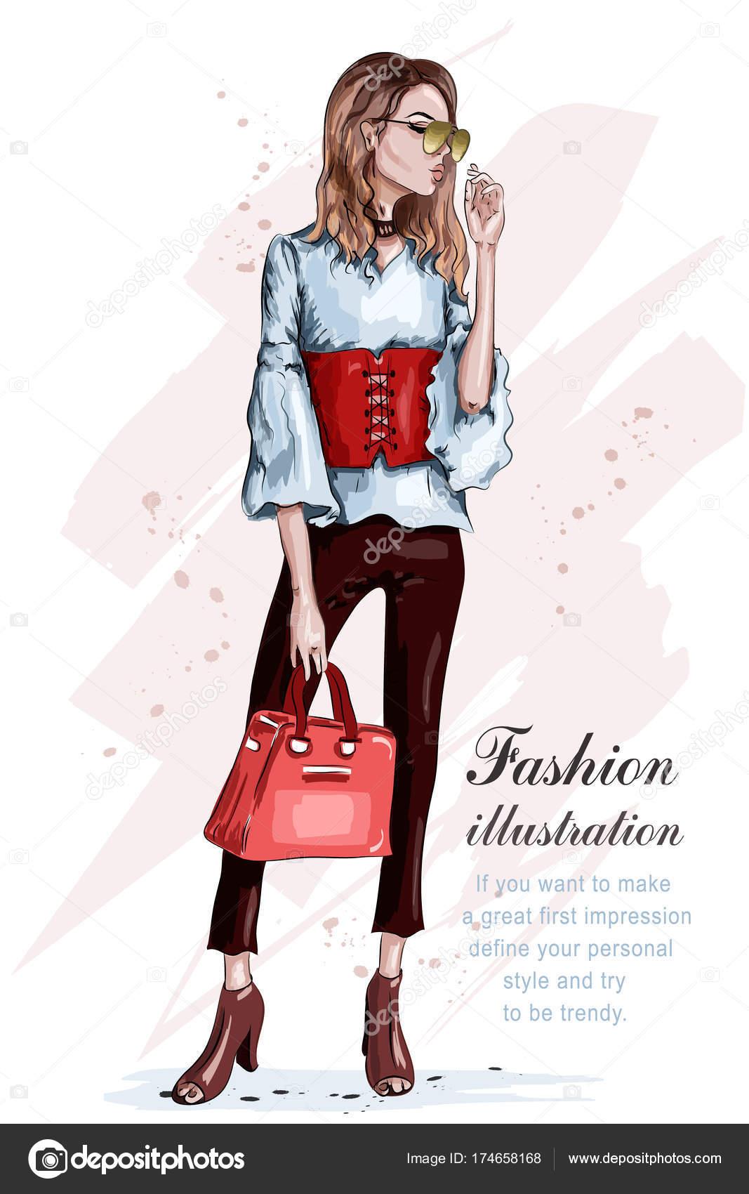 ファッションの服でかわいいのスタイリッシュな女の子。バッグと