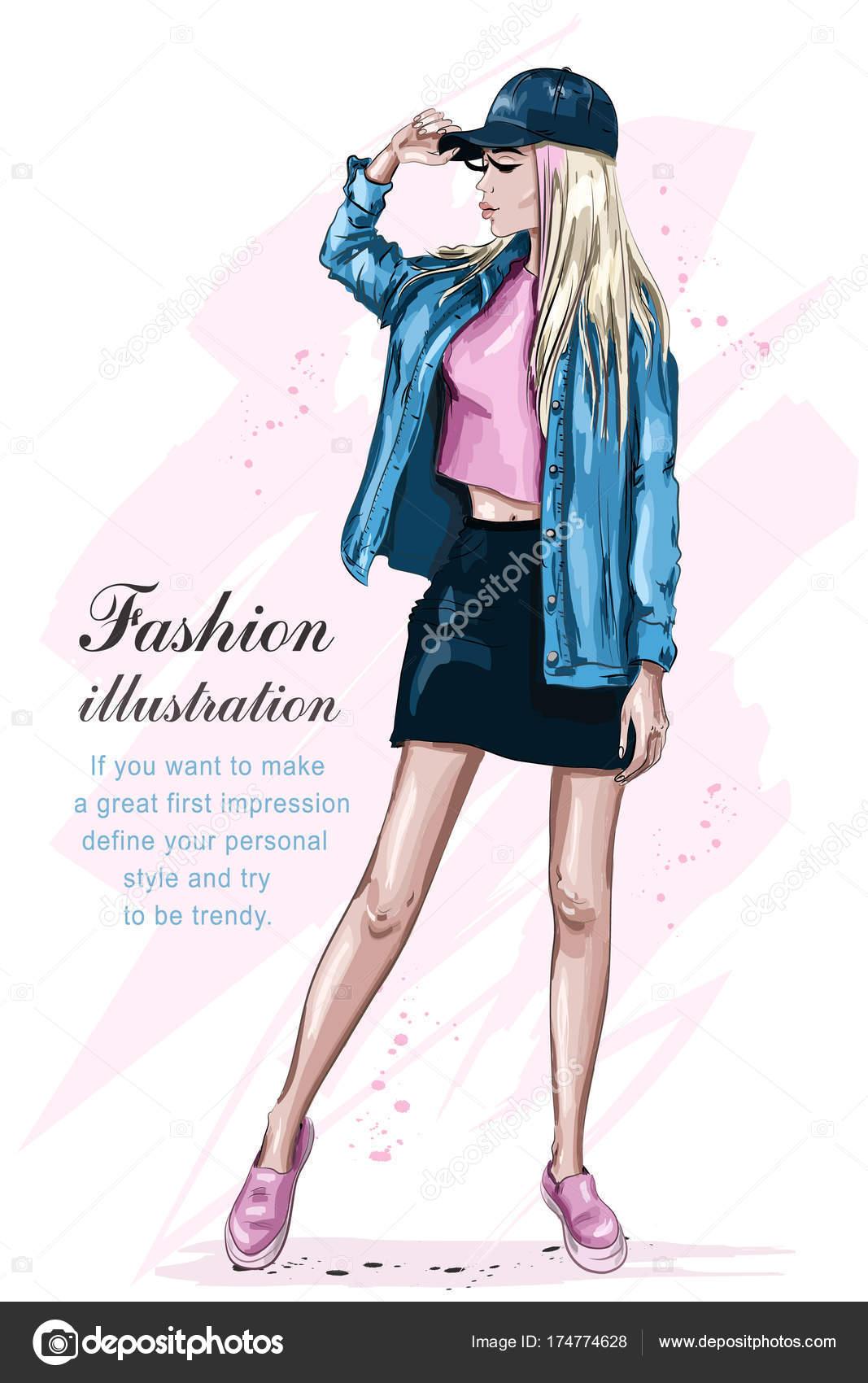 9613148667e5d6 キャップでスタイリッシュな美しい少女 ファッションの女の子 手描きかわいい女性ファッションの服 スケッチ