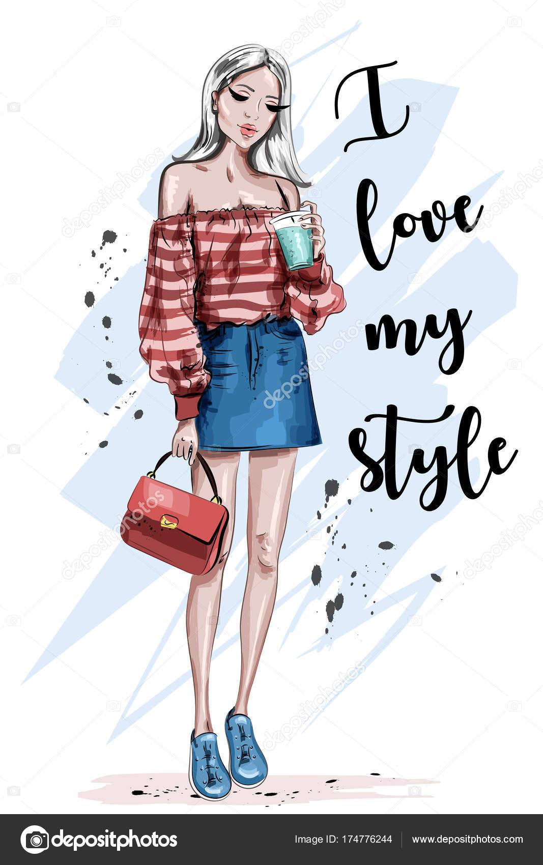 c24d589448c247 美しい若いブロンドの髪の女性 ファッションの服でスタイリッシュな女の子 手描きファッション