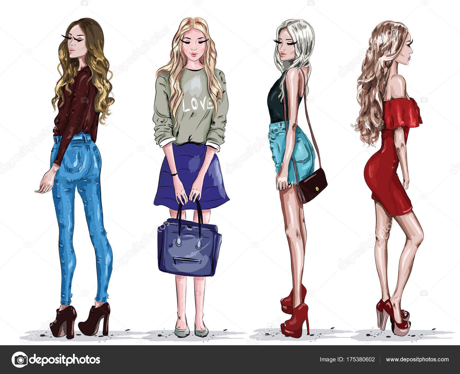 Hand Drawn Set Beautiful Young Women Fashion Clothes