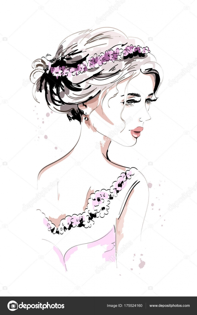 Beautiful Young Woman Portrait Fashion Woman Hand Drawn Cute