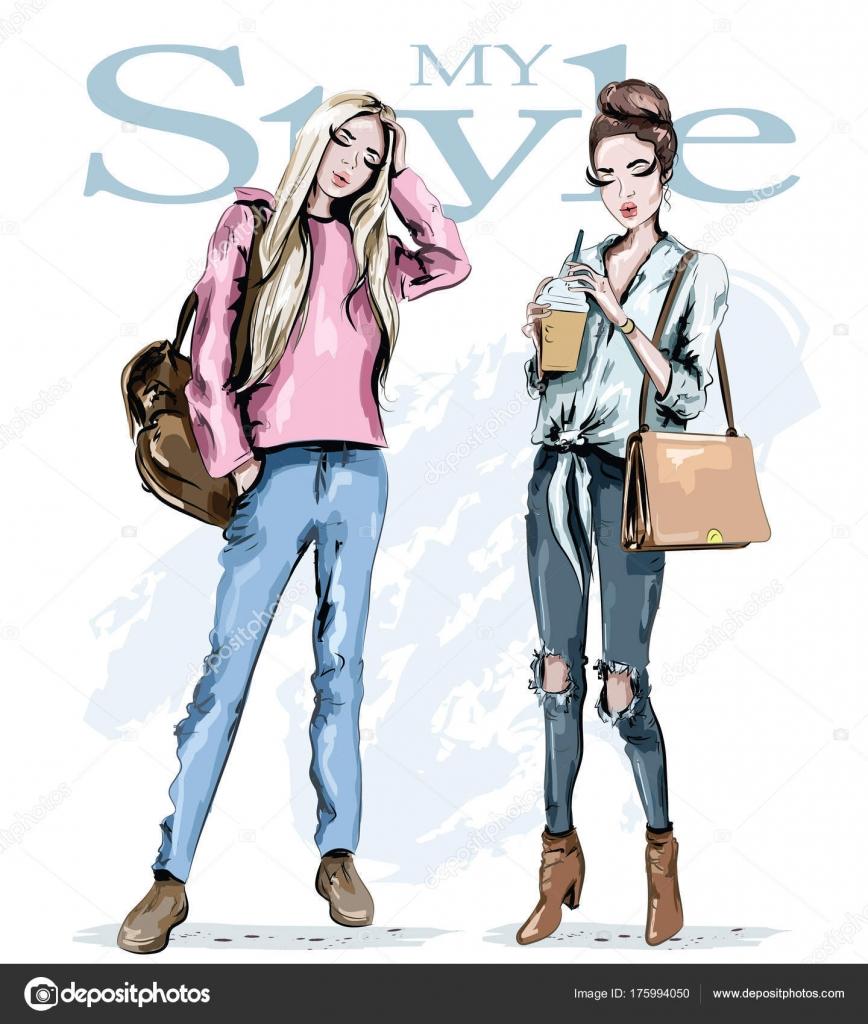 7cf915db8 Dos Chicas Moda Mano Dibuja Mujeres Bellas Elegantes Con Bolsas — Vector de  stock