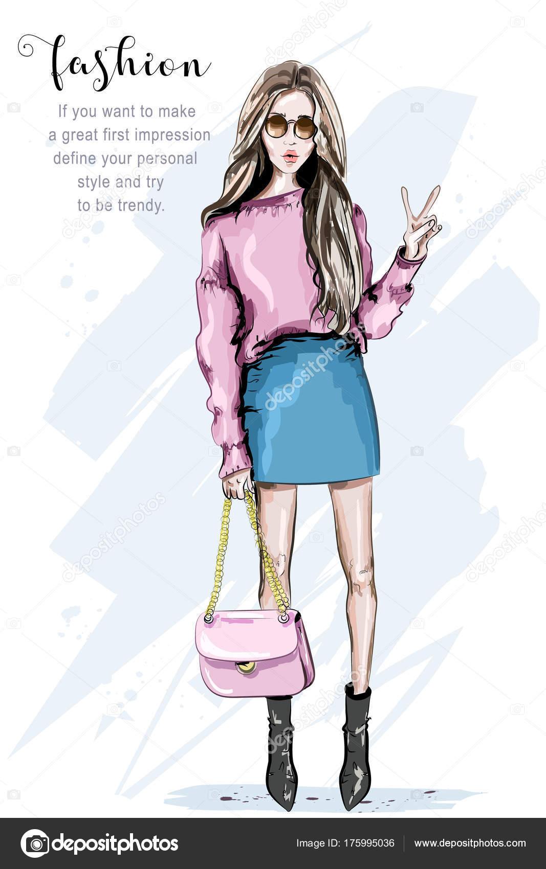 0539e6c98 Mão Desenhada Moda Mulher Óculos Sol Mulher Jovem Bonita Elegante — Vetores  de Stock