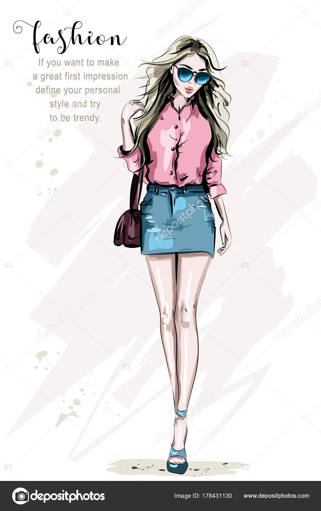 c3d235e46 Modelo Posando Manera Mano Dibujada Elegante Mujer Ropa Moda Hermosa ...