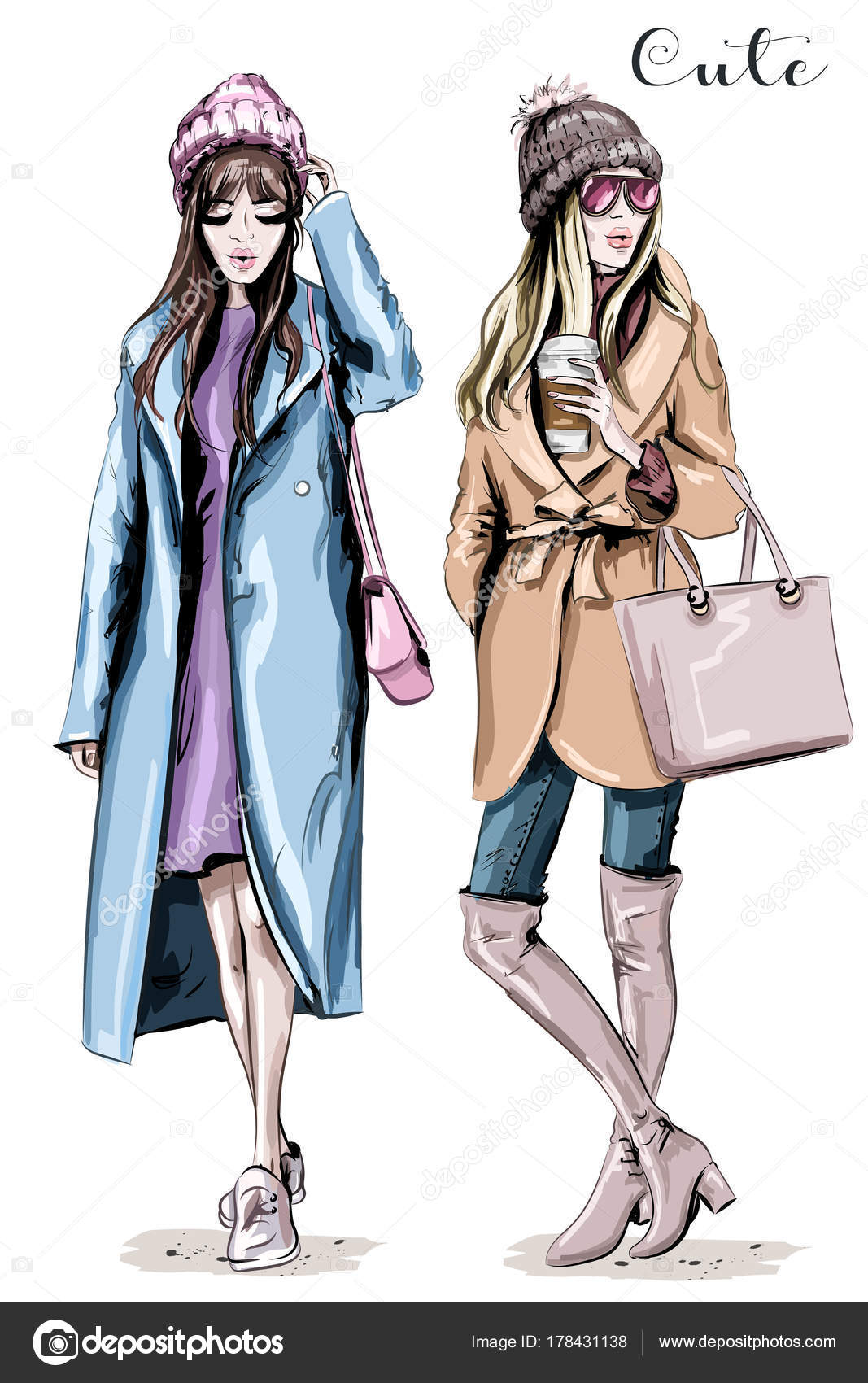 d696a18d31 Two Fashion Women Hand Drawn Stylish Beautiful Women Winter Clothes — Stock  Vector