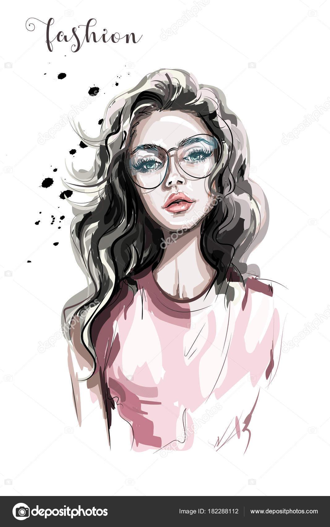 Joven DibujosChica LentesHermosa Mujer Las Con 0knwOP