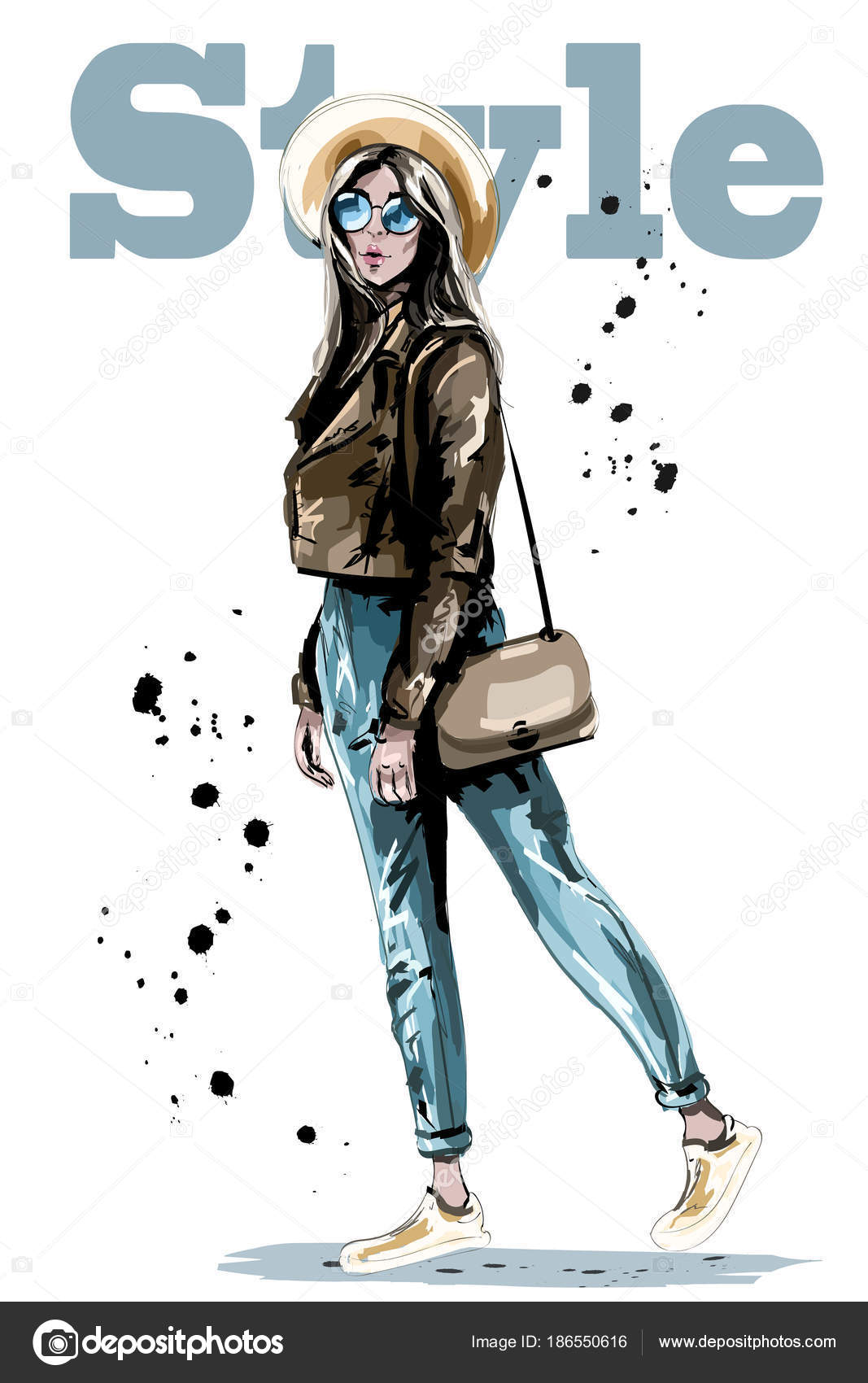 9b5b0b27c Elegante Mulher Jovem Bonita Chapéu Moda Mulher Óculos Sol Esboço — Vetores  de Stock