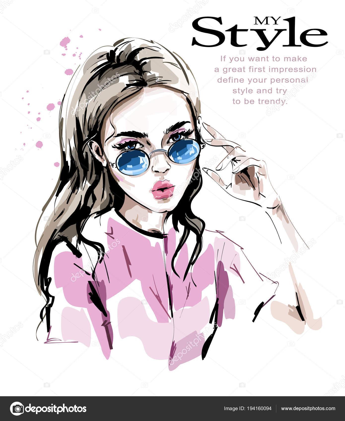 46d73edcb Moda Mulher Óculos Sol Elegante Mulher Jovem Bonita Olhar Moda — Vetores de  Stock
