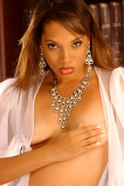 Implied Topless Beauty with Costume Jewelry