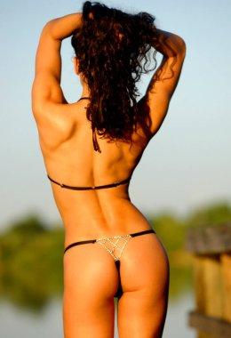 Black String Bikini with Jewelry  Back Side View