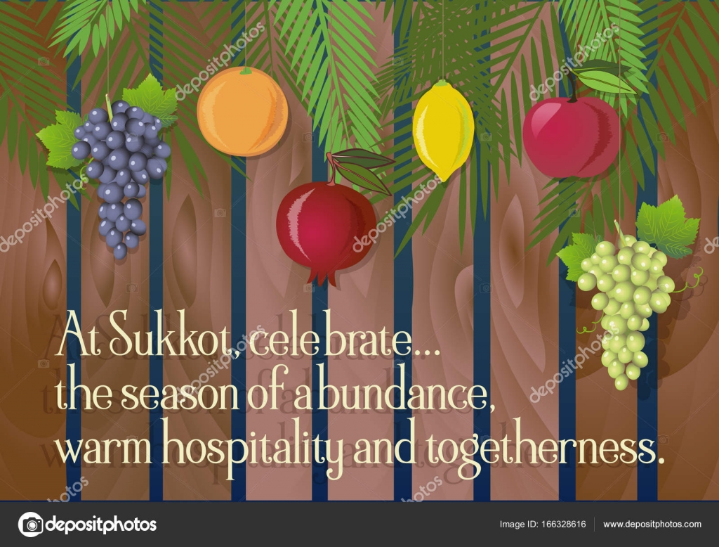 Sukkot Festival Greeting Card Design Vector Template Stock Vector