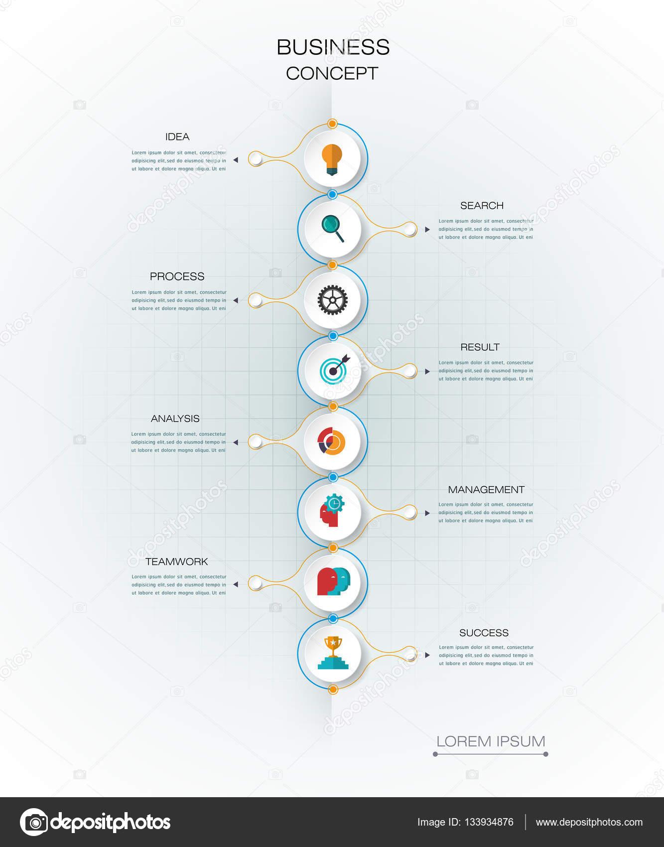 Vektor-Infografik-Timeline-Vorlage. Geschäftskonzept mit Optionen ...