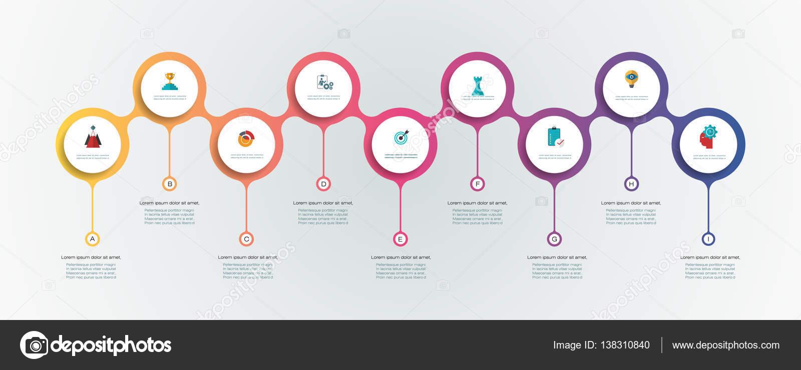Plantilla de diseño de línea de tiempo vector infografías con 3d ...