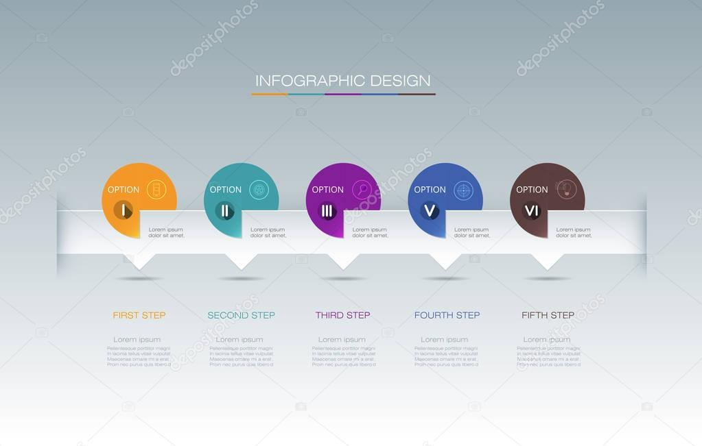 Vector Infographic label design with icons and 5 options