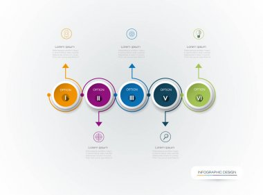 Vector Infographic 3D circle label design with arrows sign and 5 options or steps
