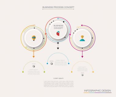 Vector Infographic 3D circle label design with arrows sign and 3 options or steps