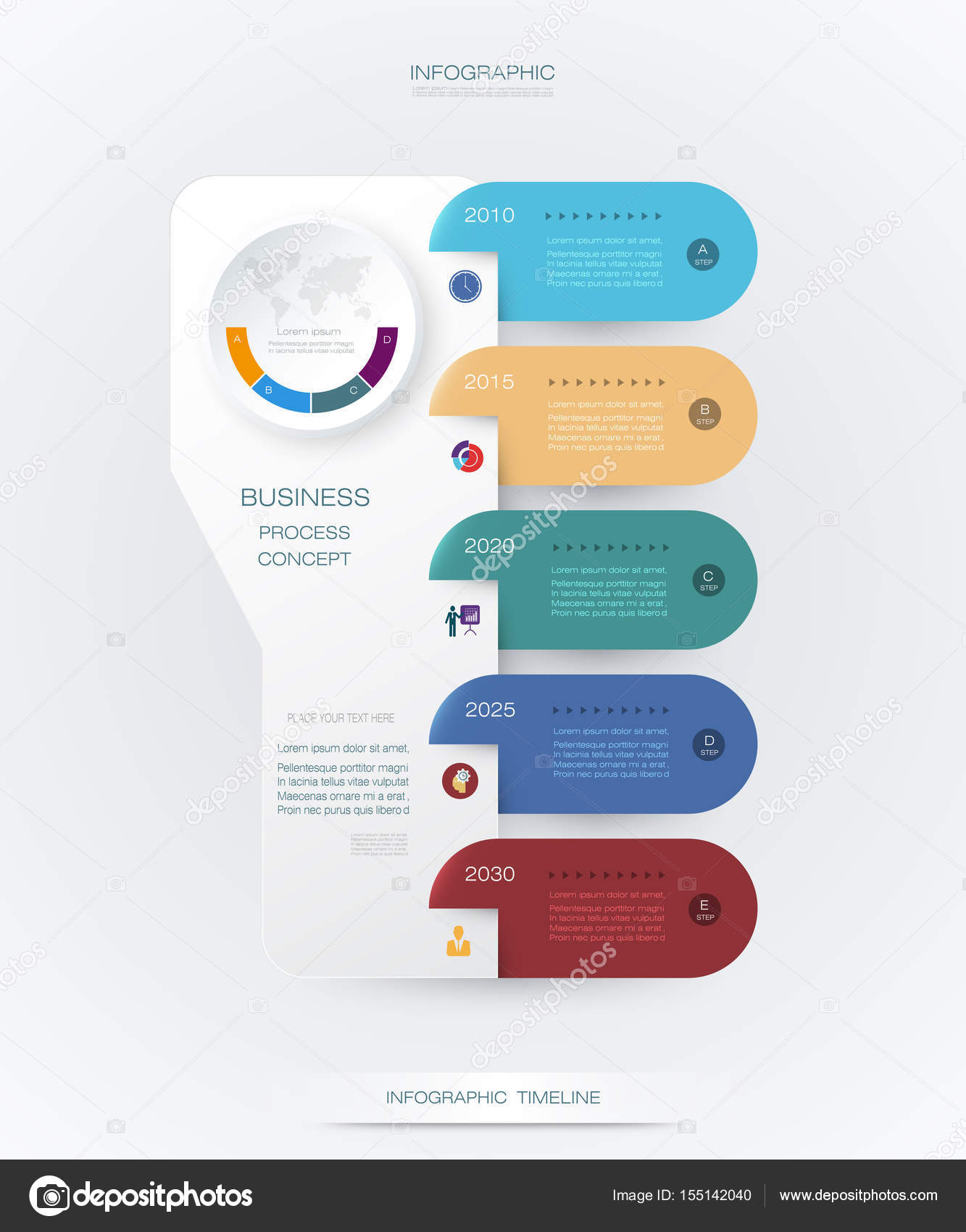Vector Infographics Timeline Design Template With D Paper Label - Timeline graphic template