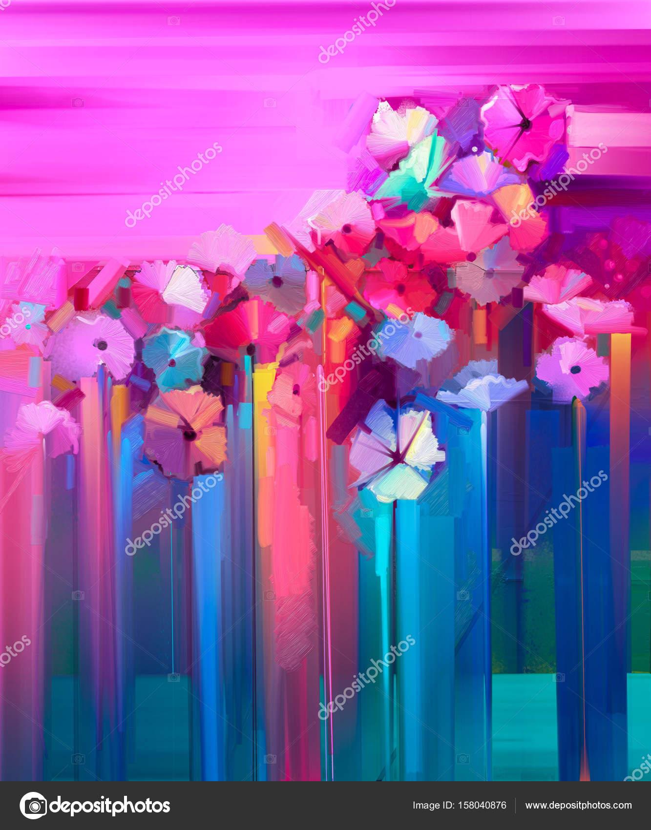 Abstrakcja Obraz Olejny Wiosenny Kwiat Zdjęcie Stockowe