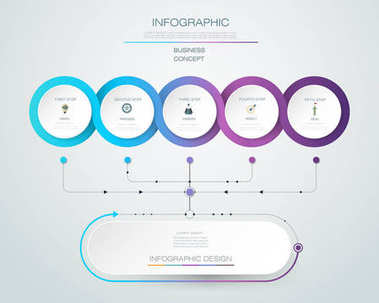 Vector Infographic label design with icons and 5 options or steps.