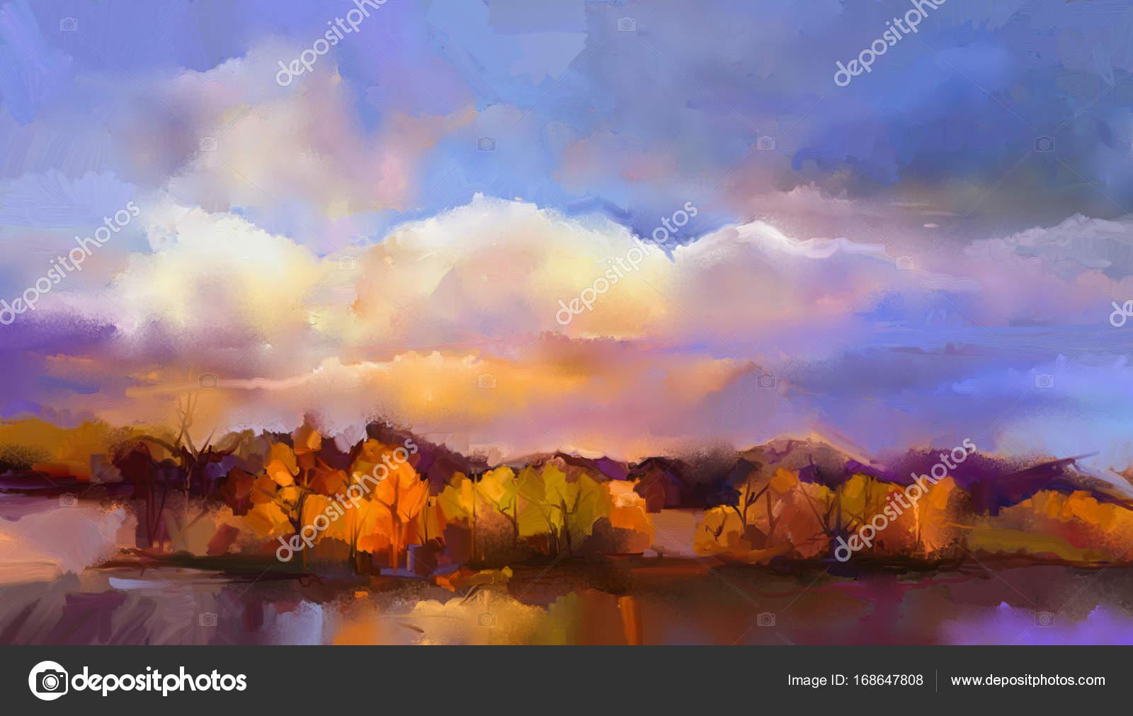 Dipinto ad olio paesaggio astratto cielo colorato di giallo