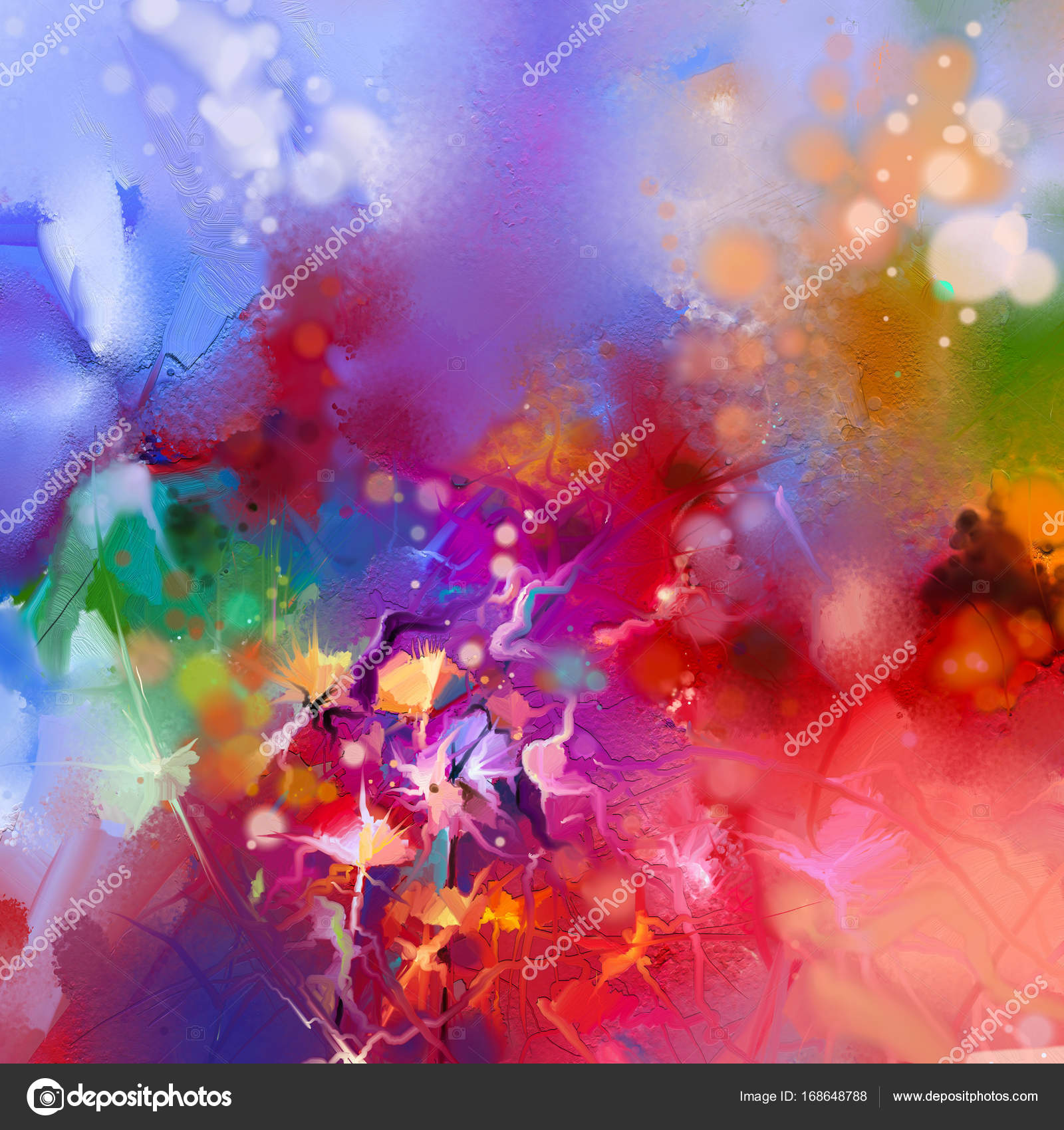 Abstract colorful oil painting on canvas. Semi- abstract image of ...