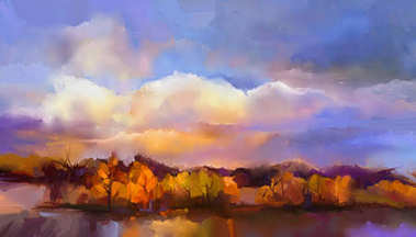 Abstract oil painting landscape. Colorful yellow, purple sky. Oil painting outdoor landscape on canvas.
