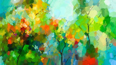 Abstract colorful oil painting landscape on canvas. Semi- abstract of tree in forest. Green and red leaves with blue sky.