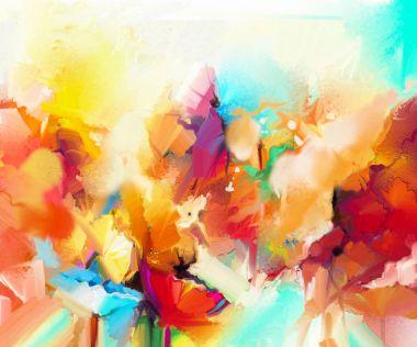 """Картина, постер, плакат, фотообои """"абстрактная красочная картина маслом на холсте. полуабстрактное изображение цветов, желтого и красного цвета с голубым . картина пейзаж художники все"""", артикул 168649176"""