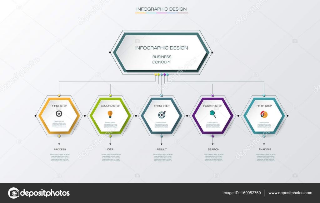 Vektor Infografiken Timeline-Design-Vorlage mit Etikettendesign und ...