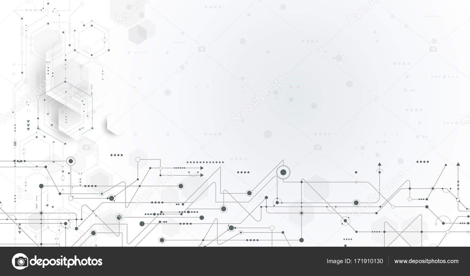 Vector illustration carte de circuit imprimé et fond d\'hexagones ...