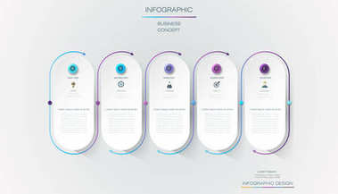 Vector Infographic label design with icons and 5 options or steps. Infographics for business concept
