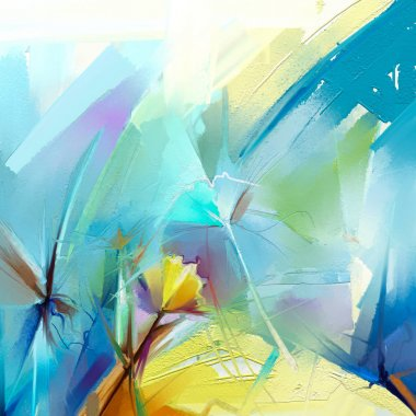 """Картина, постер, плакат, фотообои """"абстрактная красочная картина маслом на холсте. полуабстрактное изображение цветов картина"""", артикул 188548130"""