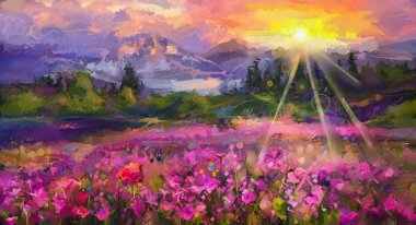Abstract colorful oil painting purple cosmos flower