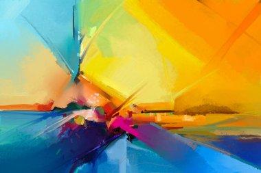 """Картина, постер, плакат, фотообои """"абстрактная красочная живопись маслом на холсте. полуабстрактное изображение фона пейзажной живописи картина все"""", артикул 188548546"""