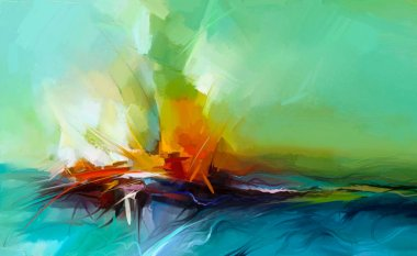 """Картина, постер, плакат, фотообои """"абстрактная красочная живопись маслом на холсте. полуабстрактное изображение фона пейзажной живописи . абстракция"""", артикул 188548628"""
