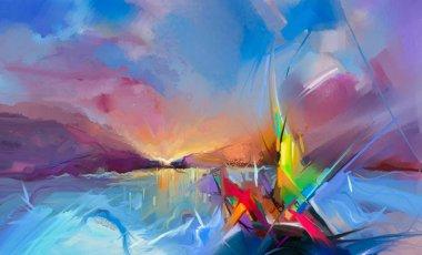 """Картина, постер, плакат, фотообои """"цветная живопись маслом на холсте. полуабстрактное изображение морской картины на фоне солнечного света . """", артикул 188548816"""