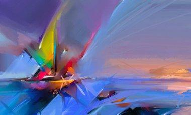 """Картина, постер, плакат, фотообои """"цветная живопись маслом на холсте. полуабстрактное изображение морской картины на фоне солнечного света картина все"""", артикул 188548876"""