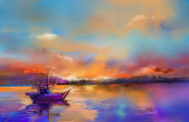 Colorful oil painting on canvas texture. Impressionism image of seascape paintings with sunlight background