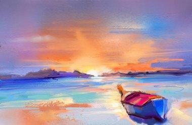 """Картина, постер, плакат, фотообои """"цветная живопись маслом на холсте. импрессионистский образ мыса на фоне солнечного света абстракция все"""", артикул 190676732"""
