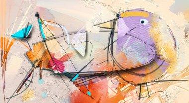 """Картина, постер, плакат, фотообои """"абстрактное красочное фэнтези-масло, акриловая живопись. полуабстрактная краска цветов и птиц в пейзаже. весна, летний сезон природный фон. ручная роспись, детский стиль картина цветы"""", артикул 356730416"""