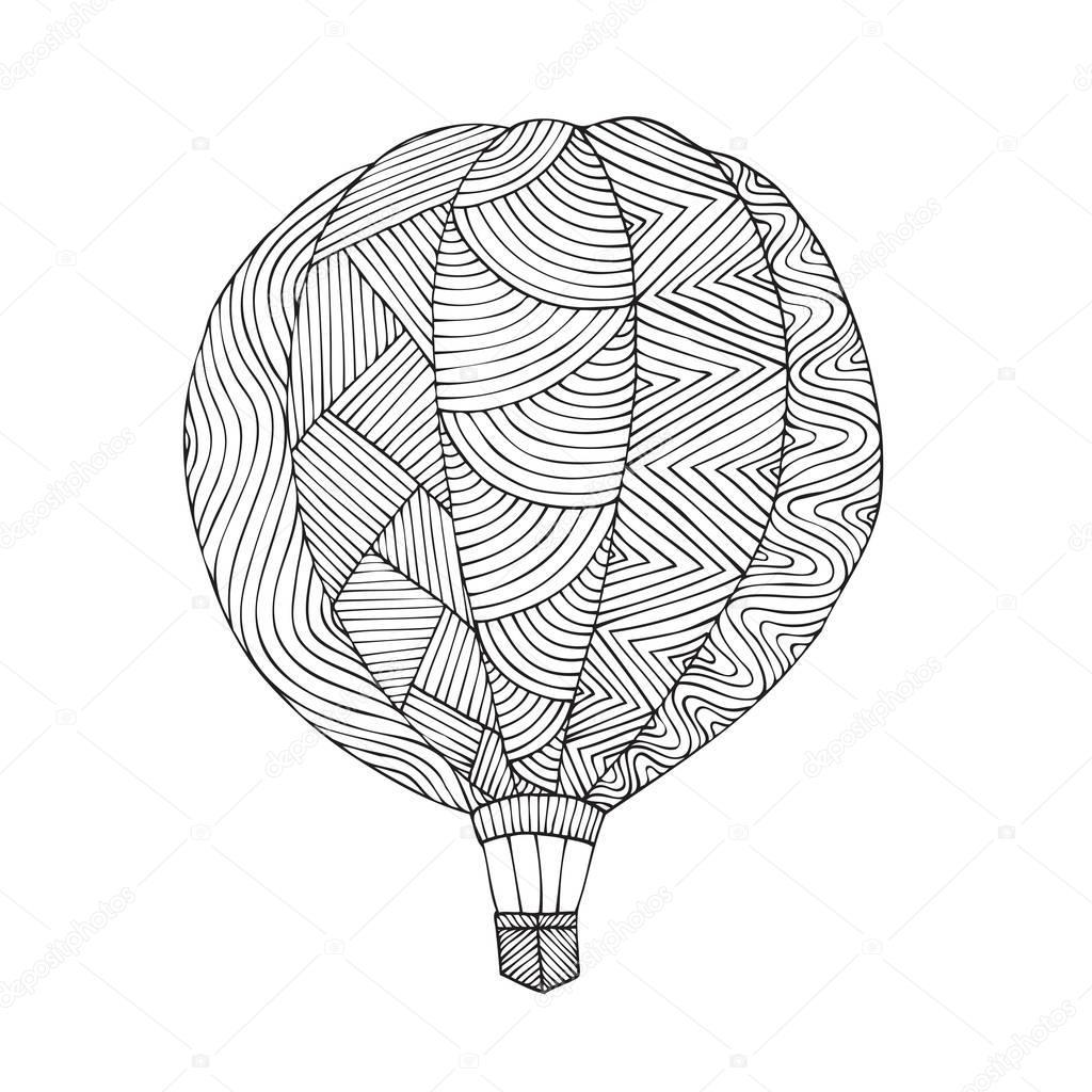 luchtballon boek kleurplaat voor volwassene stockvector
