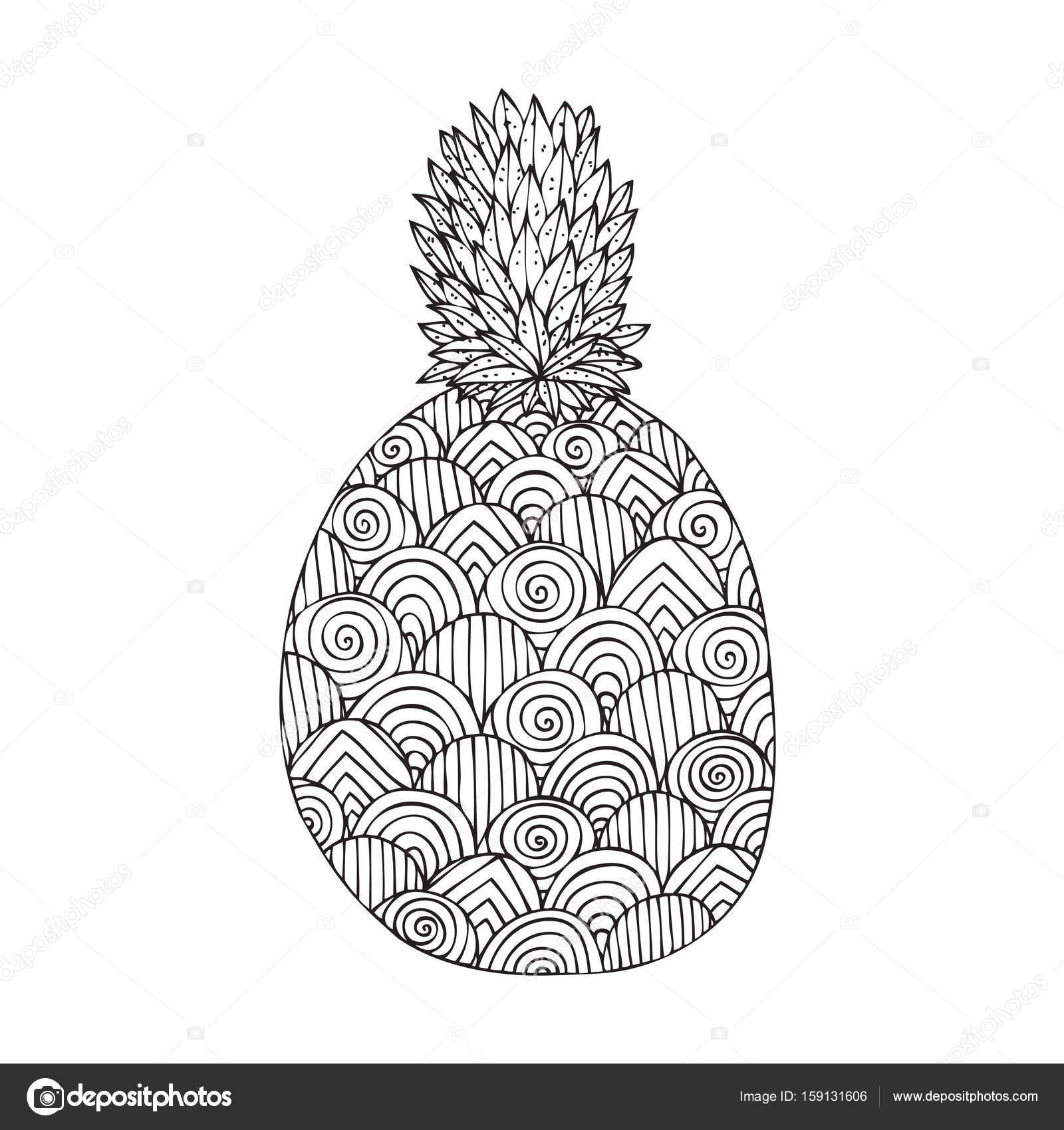 Boyama Kitabı Sayfa Tasarım Resmi Bir Ananas Olan Yetişkin Stok