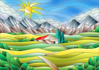 Illustration in stained glass style landscape with a lonely house amid fields, mountains and sky