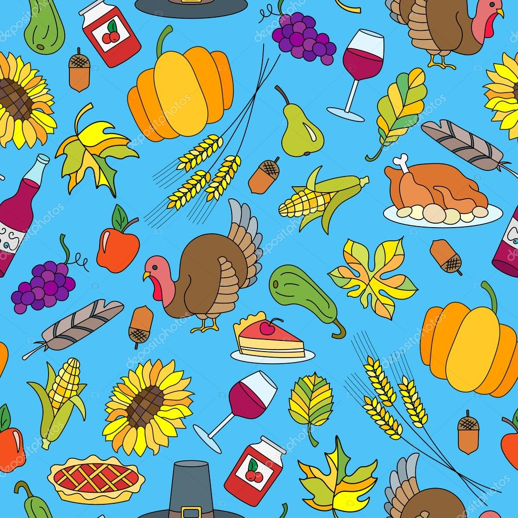 Seamless pattern for holiday Thanksgiving day, a simple hand-drawn ...