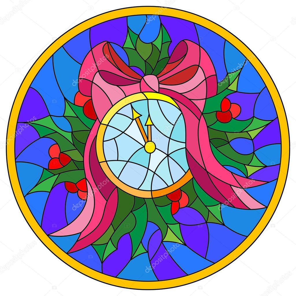 Ilustración de estilo de vidrieras con reloj redondo que medianoche ...