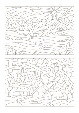 Set contour illustrations of the stained glass Windows with landscapes