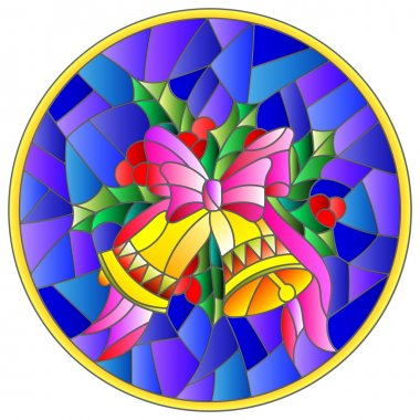 Illustration in stained glass style with Christmas bells, Holly branches and bow on blue background, round picture frame