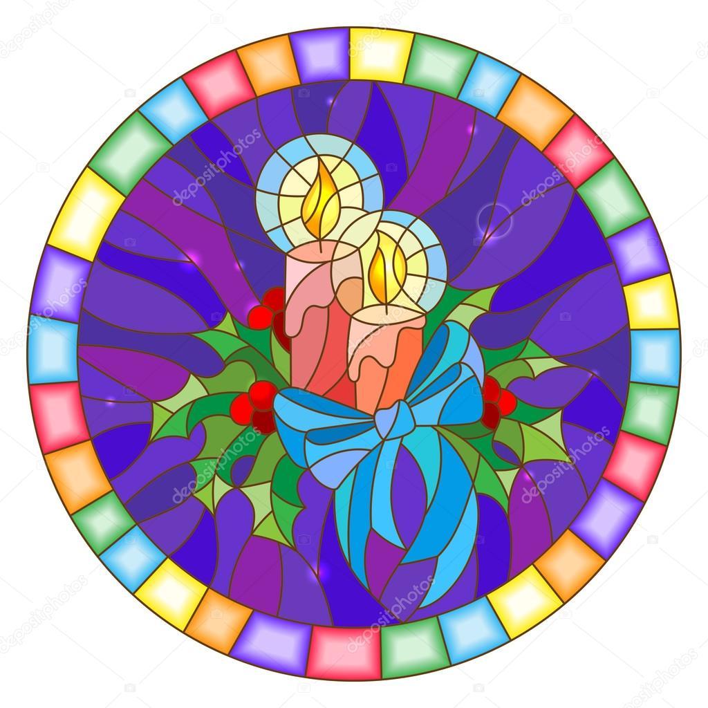 Abbildung im Stil der Glasmalerei mit Kerzen und Holly Zweige auf ...