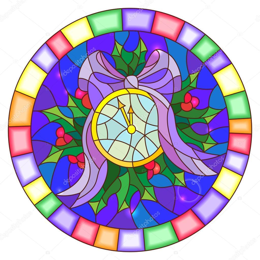 Abbildung im Stil der Glasmalerei mit runden Uhr, Mitternacht, Holly ...